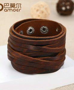BAMOER Black & Brown Genuine Leather Bracelet With Alloy Buckle Adjustable Fashion Women & Men Bracelets Jewelry PI0337-1 1