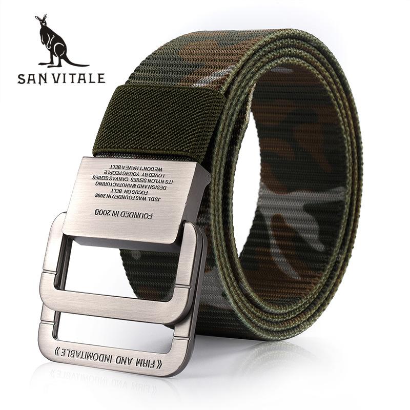SAN VITALE Men Belt Military Equipment Outdoor Tactical Belt Man Double Ring Buckle Thicken Canvas Belts for Men Waistband Strap