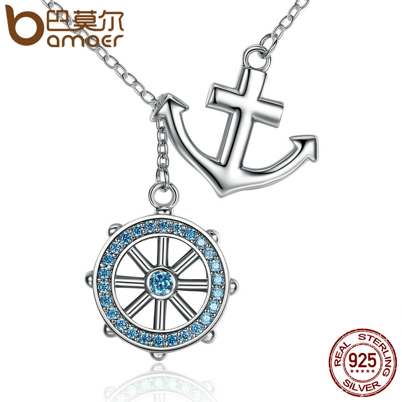 BAMOER New Collection 925 Sterling Silver Blue Anchor & Rudder Pendants & Necklaces Wedding Jewelry 45CM SCN049