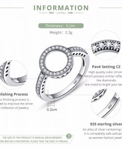 BAMOER 2018 HOT SELL 100% Genuine 925 Sterling Silver Forever Clear Black CZ Circle Round Finger Rings for Women Jewelry SCR041 1