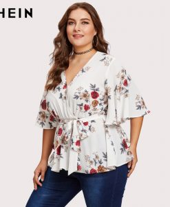 SHEIN Multicolor Plus Size Blouse Shirt For Women Butterfly Sleeve Fashion Belted Wrap Female Autumn Girls Half Sleeve Blouse 1
