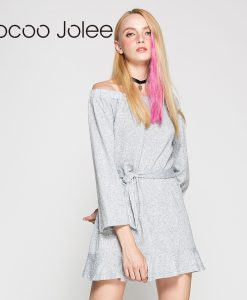Jocoo Jolee Casual Long Knitted Dress With Sashes Women Solid Design Off Shoulder Dress Autumn&Winter Arrival Knee-Length Dress 1