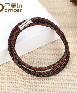BAMOER Cheap Wholesale Fashion Men Leather Bracelet 100% Brand New Trendy Bracelets with Magnet Clasp PI0063-5 1
