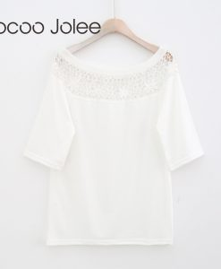 Jocoo Jolee Women Over sized Lace Design Women White Elegant Lace Tops Hollow Out Floral O-Neck Batwing Sleeves Sexy T-Shirt
