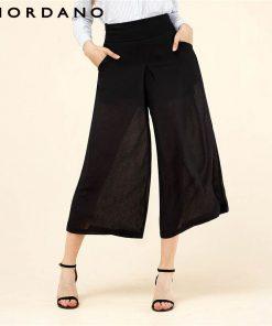 Giordano Women Pants Fake Two-piece See Through Chiffon Fabirc Loose Pants Modern Zip Wide Legging Pantaloni Femmina