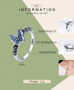 BAMOER Spring Collection 925 Sterling Silver Butterfly & Flower Blue CZ Finger Rings for Women Sterling Silver Jewelry SCR285 1