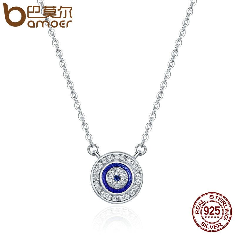 BAMOER Hot Sale 100% 925 Sterling Silver Lucky Blue Eye Clear CZ Pendant Necklace Women Luxury Sterling silver Jewelry SCN165