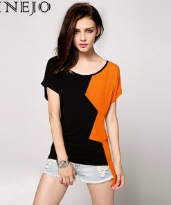 FINEJO Stylish Ladies Women Contrast Color O-neck Batwing Sleeve Loose Casual T-shirt 31 1