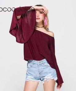 Jocoo Jolee Sexy Off Shoulder Butterfly Sleeve T-Shirt Autumn Women Long Sleeve Casual Loose Tops Tee Ladies Slash Neck Shirt 1