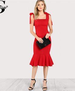 Sheinside 2018 Ruffle Party Dress Red Sleeveless High Waist Fishtail Dress With Tied Strap Women Plain Long Bodycon Dress