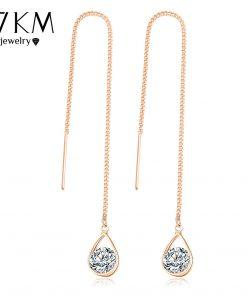 17KM Fashion Crystal Water Drop Earrings for Women Wedding Punk Star Moon Gold Color Long Tassel Dangle Bar Statement Jewelry