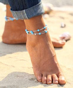 17KM 1 PCS Summer Beads Pendant Anklet Foot Chain Ankle Snow Bracelet Charm Leaf Anklet Tassel Beach Vintage Foot Jewelry Gift 1