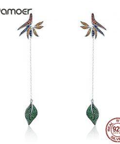 BAMOER  925 Sterling Silver Strelitzia Flower Petal & Leaves Long Chain Drop Earrings for Women Party Earrings Jewelry SCE299