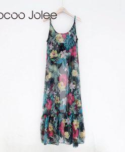 Jocoo Jolee Sexy Floral Sprint the Clairvoyance Dress for Women Front Bow Design Long Dress  Beach Wearings Summer Dress New