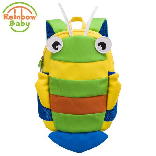 Rainbow Baby Small Bee Kids Babys Bags Backpack Anti-lost Rope Ultra-Light Waterproof Wearable Breathable Boys Girls School Bags