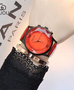 GUOU Watch Women Top Luxury Fashion Quartz Watch Ladies Wristwatch Genuine Leather Diamond Women Watches saat relogio feminino 1