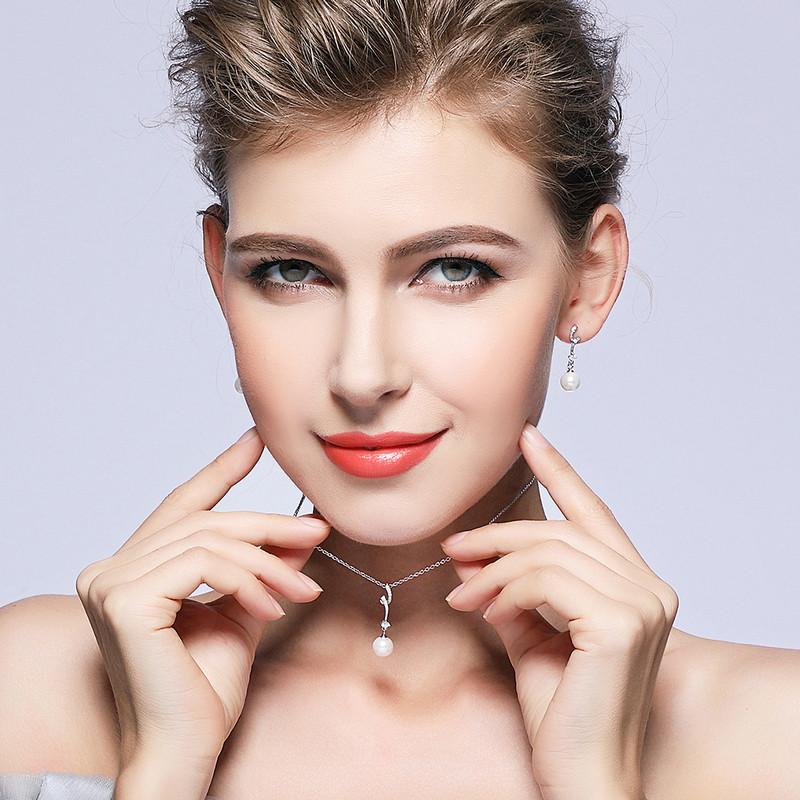 BAMOER Popular Elegant 925 Sterling Silver White Pearl Jewelry Set for Women Pendant Necklace & Earrings SCN048+SCE035 1