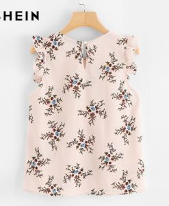 SHEIN 2018 Summer Women Blouses Pink Chiffon Sleeveless Casual Blouse Frilled Armhole Button Closure Back Floral Top 1