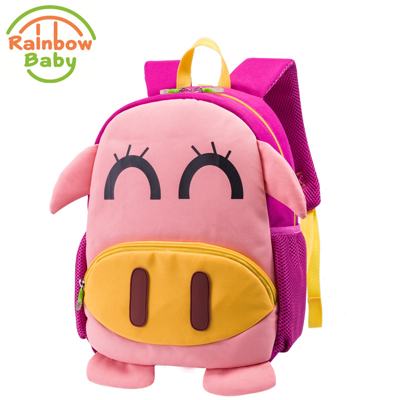 Rainbow Baby Lovely Pig Child's School Bag Ultra-Light Waterproof Boys Girls Backpack Wearable Anti-lost Rope Kids Babys Bags
