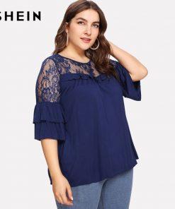SHEIN Navy Plus Size Summer O Neck Lace Ruffle Sheer T Shirts Women Spring Summer Top Short Sleeve Casual T-shirt 1