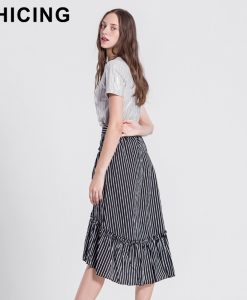CHICING High Street Women Striped Midi Skirts Women 2017 Empire Stretch Ruffles Cross Asymmetrical Hem Skirts Saias A1705062 1