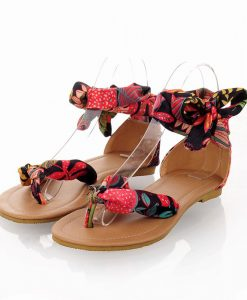 Road Track Large Size Women's Shoes Summer Bohemian Ribbon Sandals Vacation Dating Girls Ribbons Beautiful Sandals XWA1061-5 1