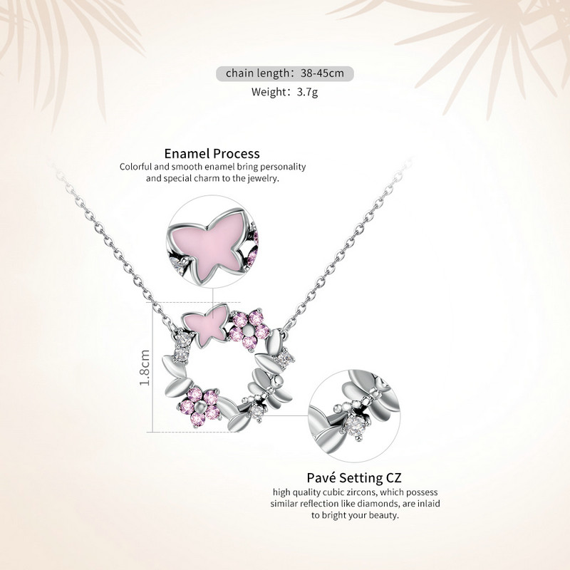 BAMOER 100% 925 Sterling Silver Pink Poetic Daisy Cherry Blossom Wreath Women Pendant Necklaces Sterling Silver Jewelry SCN098 1