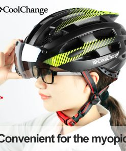 CoolChange Cycling Helmet With Light Windproof Glasses Bike Helmet MTB Insect Net Integrally Molded Men Women Bicycle Helmet 1