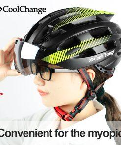 CoolChange Cycling Helmet With Light Windproof Glasses Bike Helmet MTB Insect Net Integrally Molded Men Women Bicycle Helmet 1