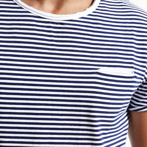 SIMWOOD 2018 Spring  Summer Short Sleeve T Shirts Men Striped  Fashion Tees Slim Fit Plus Size Breton Top TD1167 2