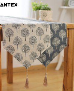 GIANTEX Pastoral Style Tree Pattern Tassel Cotton Linen Table Runner Home Decor U1114
