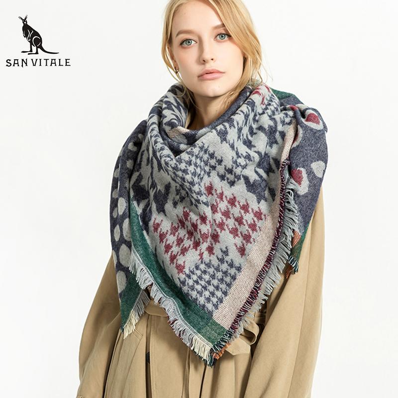 Scarves Women'S Scarf Silk Hijab Palestine Winter Warm Chiffon Luxury Brand Cashmere Plaid Pashmina For Dress Luxury Brand Silk