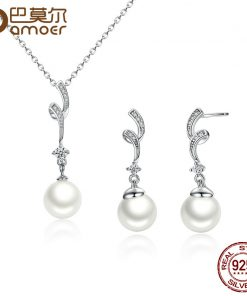 BAMOER Popular Elegant 925 Sterling Silver White Pearl Jewelry Set for Women Pendant Necklace & Earrings SCN048+SCE035