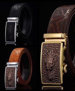 Men Belts Snake Skin Lines Luxury Famous Brand Designer High Quality Genuine Leather Straps Automatic Buckle Belt Ceinture Homme 1