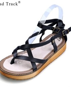 Road Track Girls Sponge Cake Flat Large Size Tide Roman Women Platform Sandals XWA1367-5