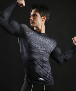 New 2017 Brand Clothing Fitness Compression Shirt Men Superman Bodybuilding Long Sleeve 3D T Shirt Crossfit Tops Shirts S-3XL