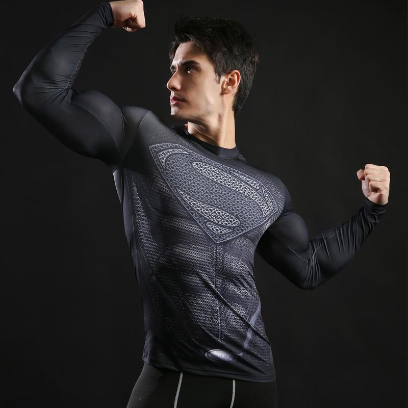 New 2017 Brand Clothing Fitness Compression Shirt Men Superman Bodybuilding Long Sleeve 3D T Shirt Crossfit Tops Shirts S-3XL