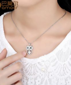 BAMOER Vintage Owl Pendant Necklace with AAA Austrian Zircon  White Gold Color Summer Collection Animal Jewelry YIN047 1