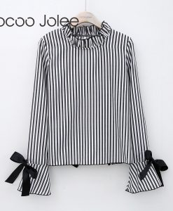 Jocoo Jolee Sexy Backless Striped Blouse for Women Hollow out Lace up Shirts with Flare Sleeves Peter Pan Collars Women Clothing