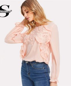 Sheinside Pink Ruffle Guipure Lace Detail Blouse Round Neck Long Sleeve Top 2018 Spring Women Office Ladies Work Blouse  1