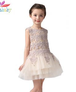Belababy Summer Girl Dresses Flower Embroidered Cotton Dress Children Kids Ivory Layered Party Dress Christmas Costumes Vestido