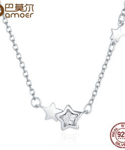 BAMOER Genuine 925 Sterling Silver Double Sparkling CZ Star Women Pendant Necklaces for Women Authentic Silver Jewelry PSN020