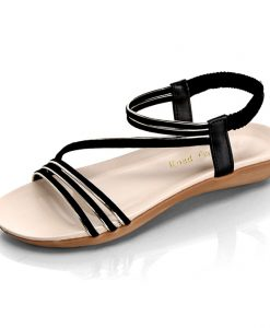 Road Track Women Flat With Open Toe Shoes After The Strap Metal Decoration Beach Shoes Simple Comfortable Sandals XWA1003-5 1