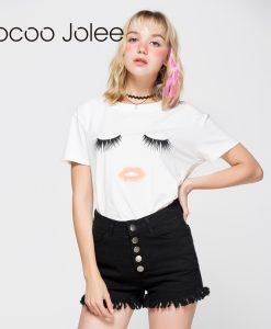 Jocoo Jolee Eyelash Red Lips T-shirts Print Letters Female T-shirt Plus Size Summer Tee Shirt Femme Harajuku Shirt Women Tops