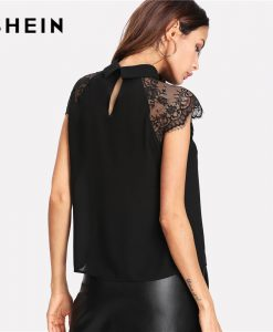SHEIN Floral Lace Cap Sleeve Blouse Black Peter pan Collar Button Women Elegant Top 2018 Summer Short Sleeve Plain Blouse 1