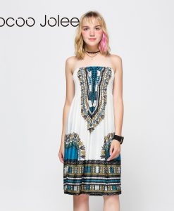 Jocoo Jolee Women Knee Length Dresses Sexy Strapless Backless Bohemian Dress Ethnic Printing Ladies Summer Dress