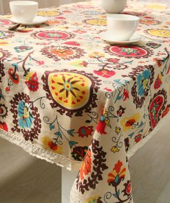 GIANTEX Bohemian National Wind Decorative Table Cloth Cotton Linen Lace Tablecloth Dining Table Cover Kitchen Home Decor U0997 1