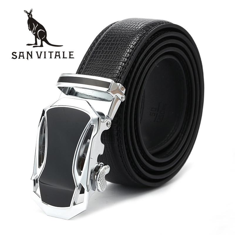 Belts Mens Belt Genuine Leather Fashion Strap Cowskin Man Slim Black Stretch Buckles For Suit Luxury Brand Ratchet Reversible