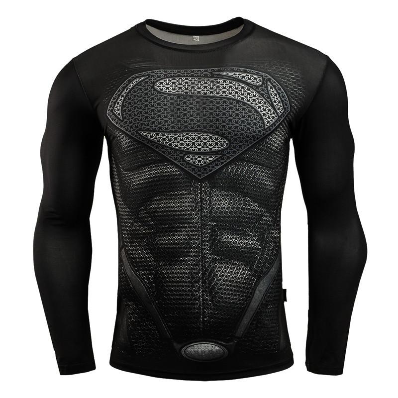 New MMA Fitness Compression Shirt Men Long Sleeve 3D Superman T-shirt Superhero Captain America Brand Clothing Marvel T shirt 1