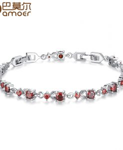 BAMOER 6 Colors Luxury Rose Gold Color Chain Link Bracelet for Women Ladies Shining AAA Cubic Zircon Crystal Jewelry JIB013 1